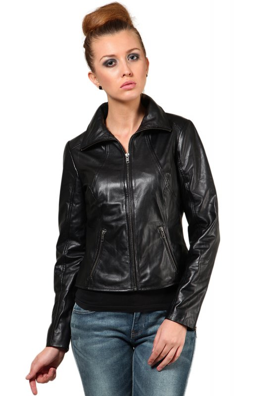 Black leather jacket with Shirt Collar