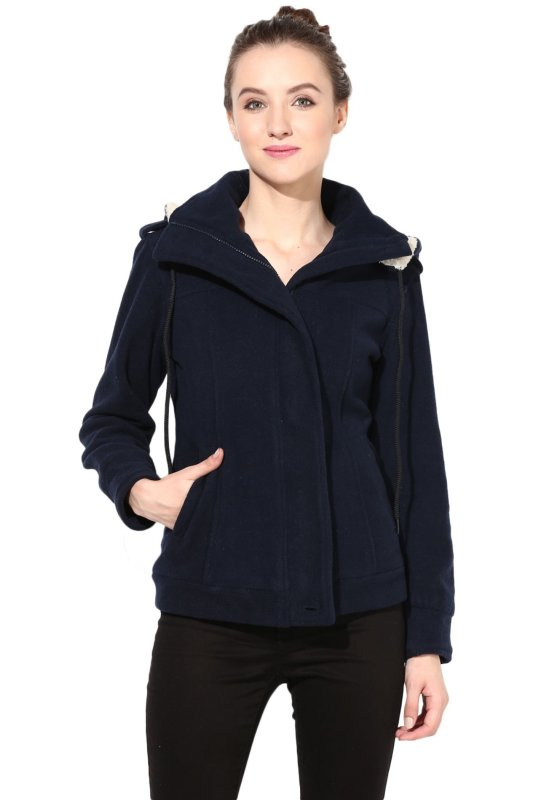 Navy-blue polar fleece jacket