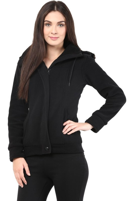 Black polar fleece jacket