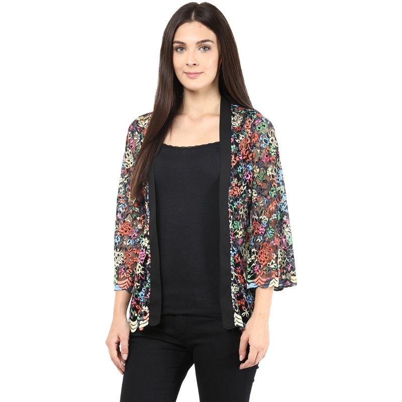 Multicoloured lace shrug