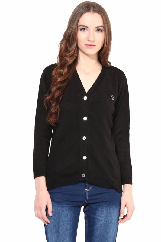 Black front button sweater
