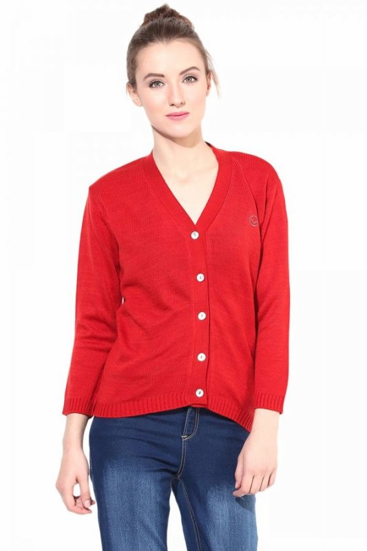 Red front button sweater