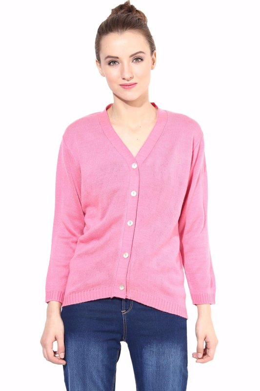 Pink front button sweater