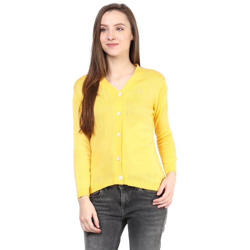 Yellow V Neck Line With Short Sleeve