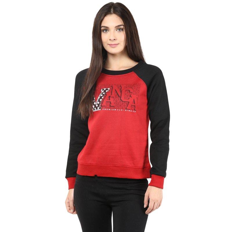 Round Neck Sweatshirt In Red Color
