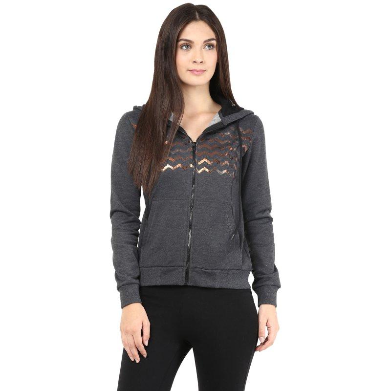 Charcoal melange hooded sweatshirt