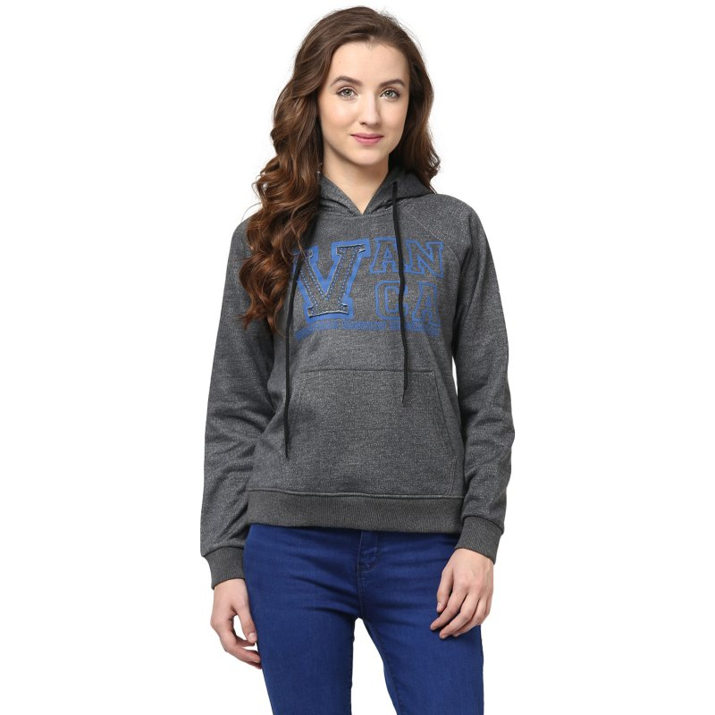 Hoooded Sweatshirt In Grey Color With V Patch