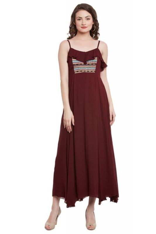 Buy Marsala Strappy Maxi Dress With Front Embroidery