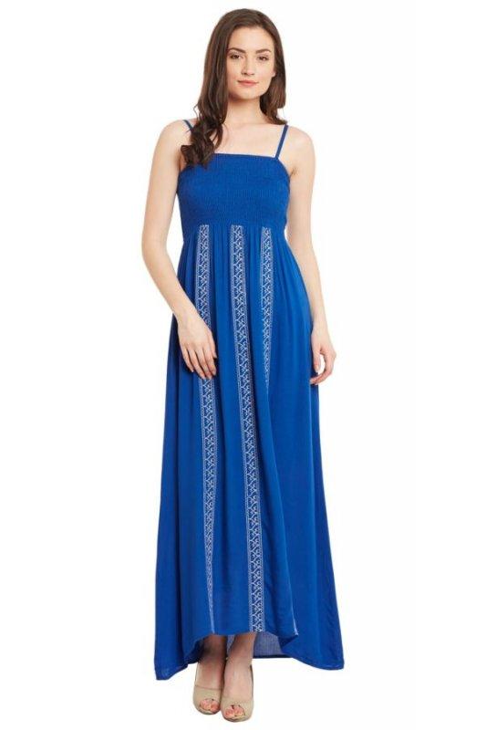 Buy Blue Maxi Dress With Smocking Back