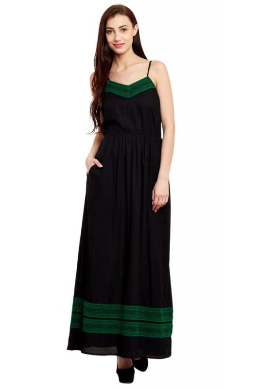 Buy Black Sleeveless Maxi Dress With Green Lace Detailing