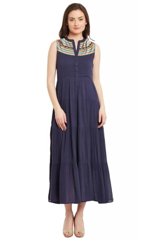 Buy Blue Tiered Maxi Dress With Embroidered Yoke