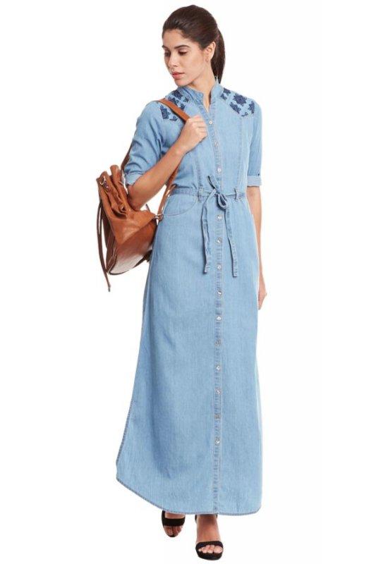 Buy Front Button Light Blue Denim Maxi Dress