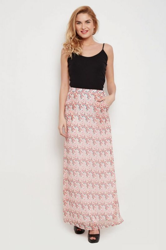 Buy Red Maxi Skirt With Side Pockets