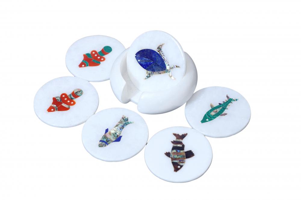 Buy Marble Inlay Pietradura Coaster Set Fish Design