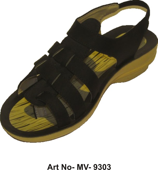 Buy Black-Yellow women sandal