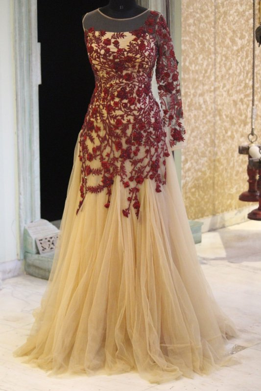 Buy Beige Net Gown with Wine Color Hand Embroidery