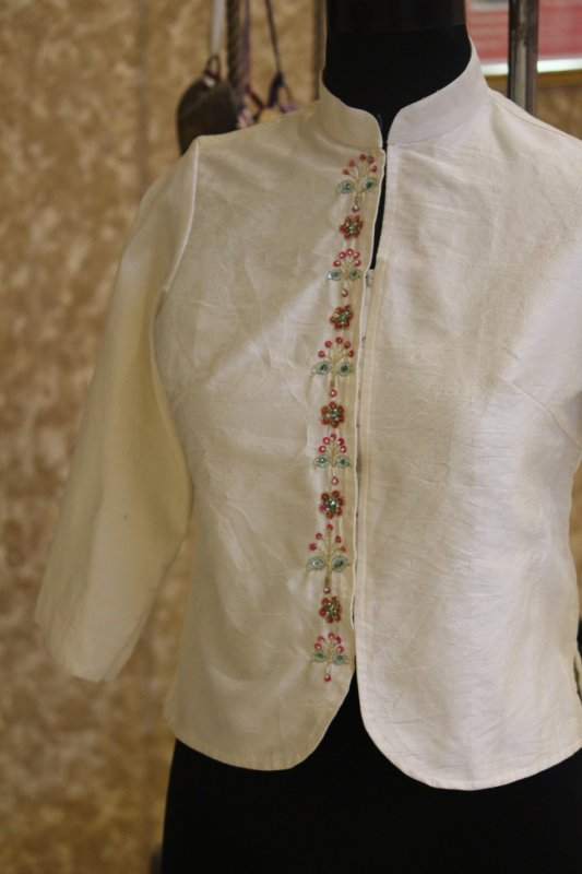 Buy Ivory Chinese Collar Front Open hand embroidered jacket