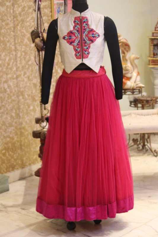Buy Ivory embroidered Waist Coat with a pink Skirt