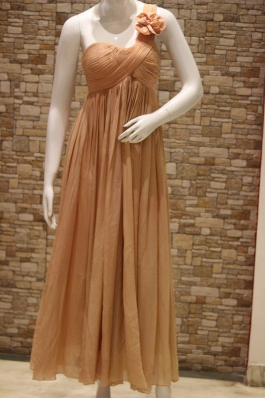 Buy Nude pleated One Shoulder Gown