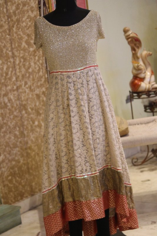 Buy Hand embroidered Ivory red High-low dress