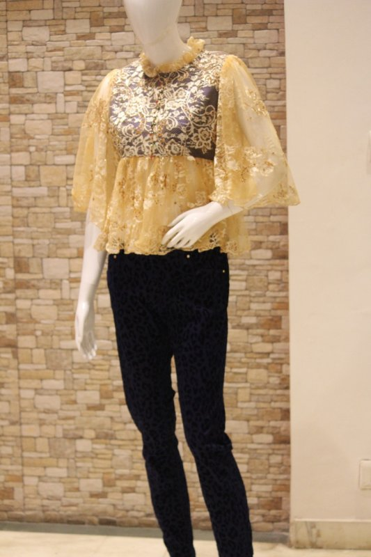 Buy Chantilly Lace Peplum Top with Hand Embroidery