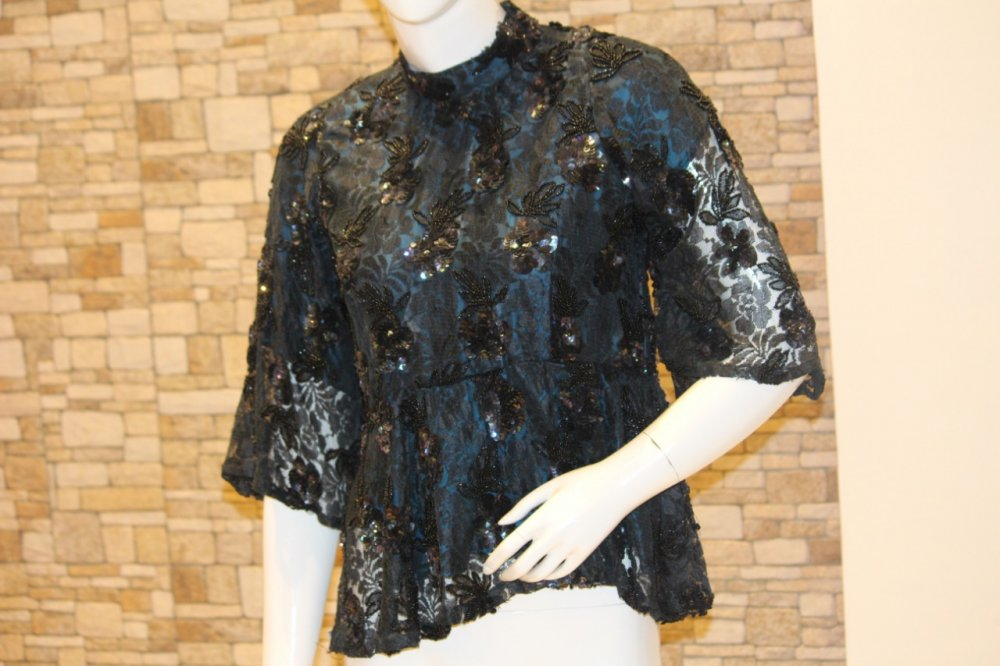 Buy Mid night Blue Chantilly Lace Peplum Top with Hand Embroidery