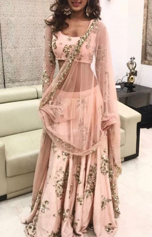 Buy Peach color embroidered ethnic dress