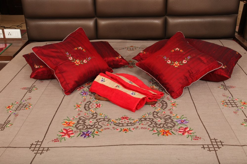 Buy Convent Embroidery Full Bed Set