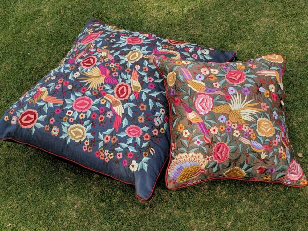 Buy Parsi thread work Silk Cushions