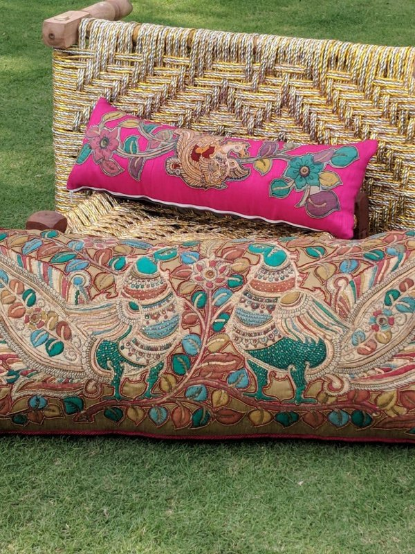 Buy Kalamkari with Zardosi work silk cushions