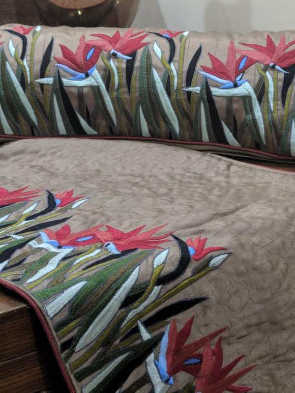 Buy Tafta Silk Embroidered cushions and Runner