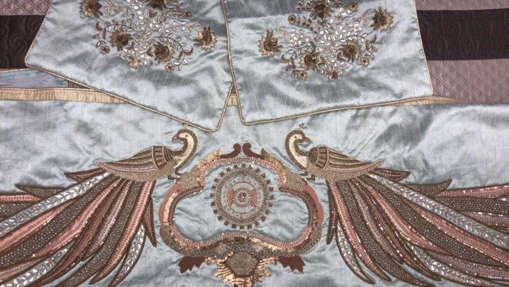 Buy Zardosi work silk Cushions and Runner