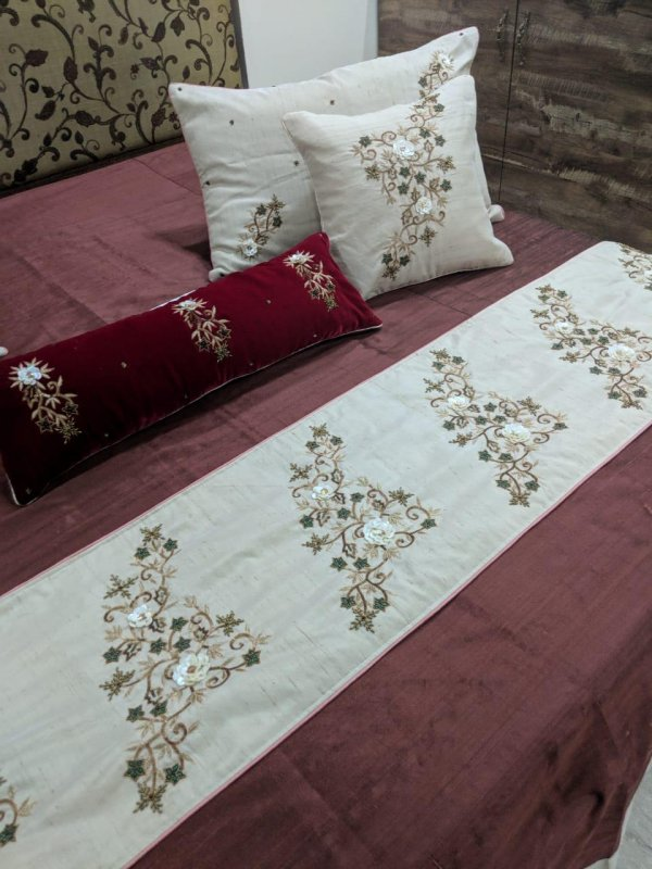 Buy Brown with Ivory silk Cushions