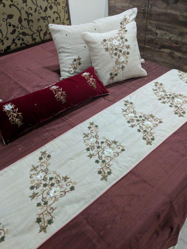 Buy Mother of Pearl work, Zardosi work on silk Cushions