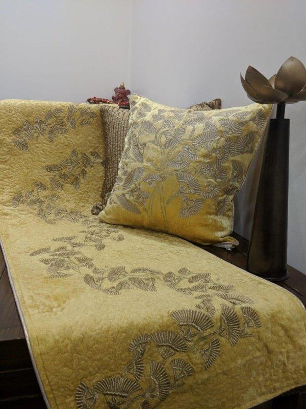 Buy Golden Zari embroidery work velvet cushions and runner