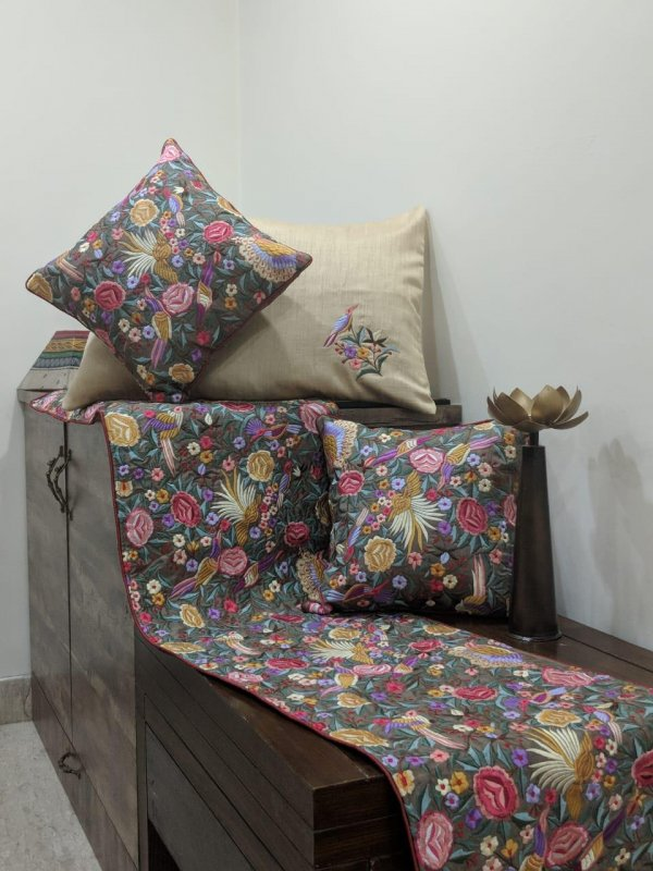 Buy Parsi Thread embroidery work silk cushion and Runner