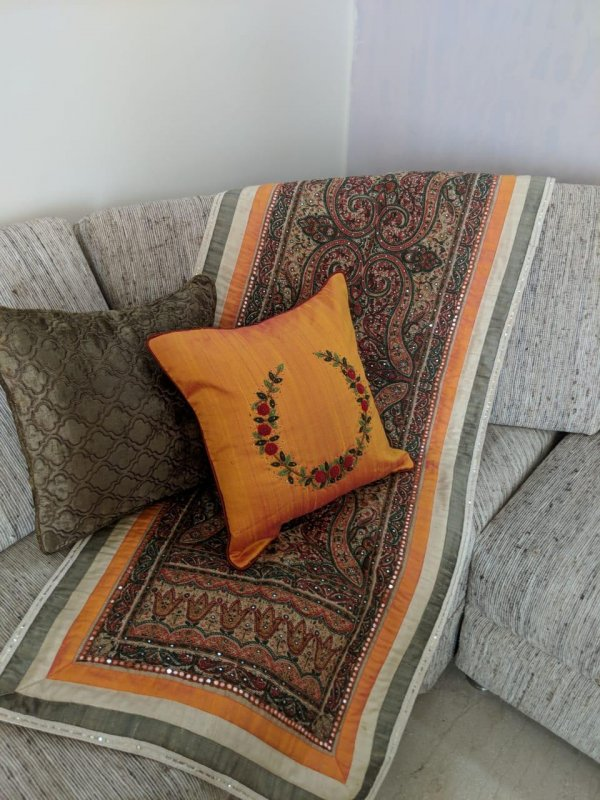 Buy Kashmere aari with mirror hand work cushion and runner