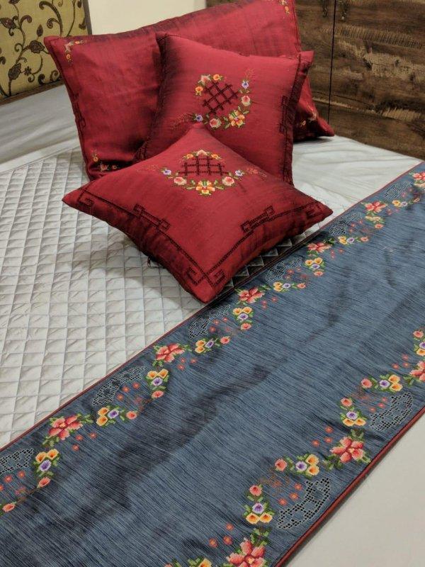 Buy Convent Work cotton silk Runner & Cushions