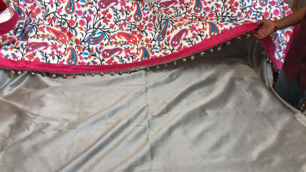 Buy Kahani Print work Cotton silk Bed Cover