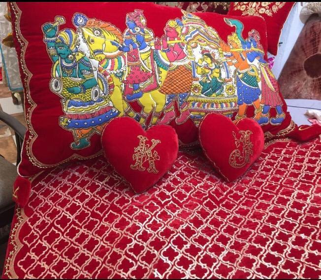 Buy Kalamkari Doli with Zardosi work velvet cushions