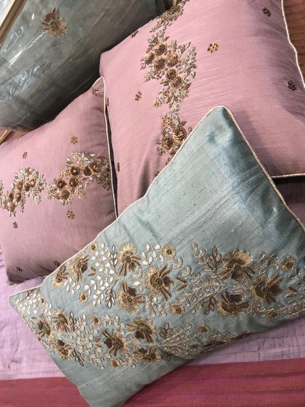 Buy Zardosi work raw silk cushions