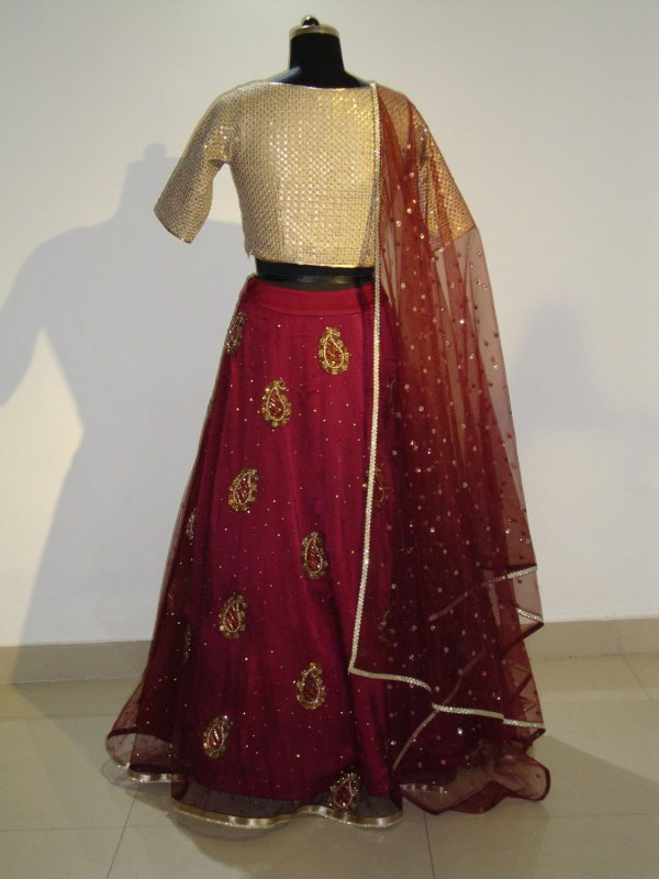 Buy Golden and Mehroon Color Lehenga Top with Dupatta