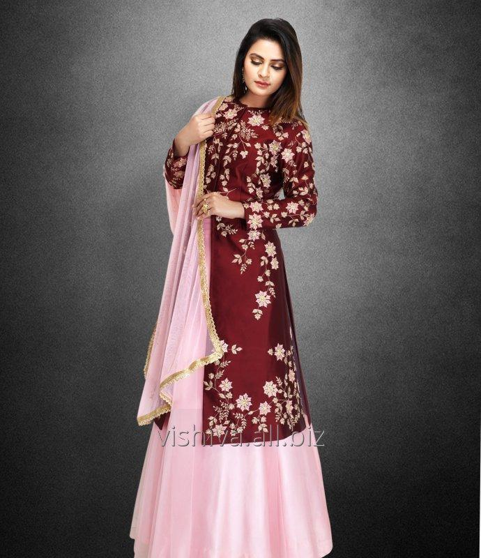 Buy Mehroon and Pink Color Lehenga with Long Top and Dupatta