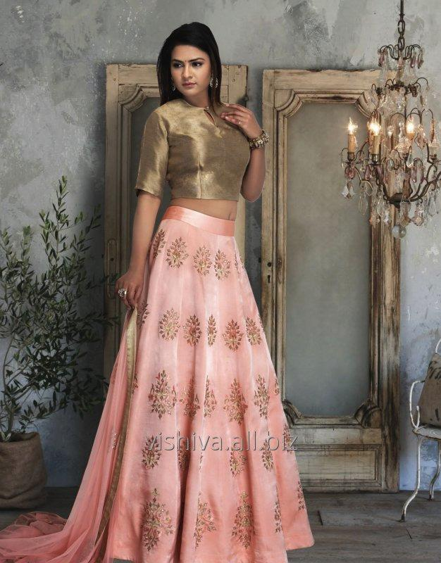 Buy Peach & Golden Color Lehenga with Top and Dupatta