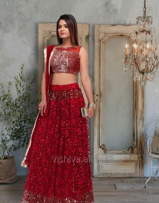Buy Red & Golden Color Lehenga with Top and Dupatta