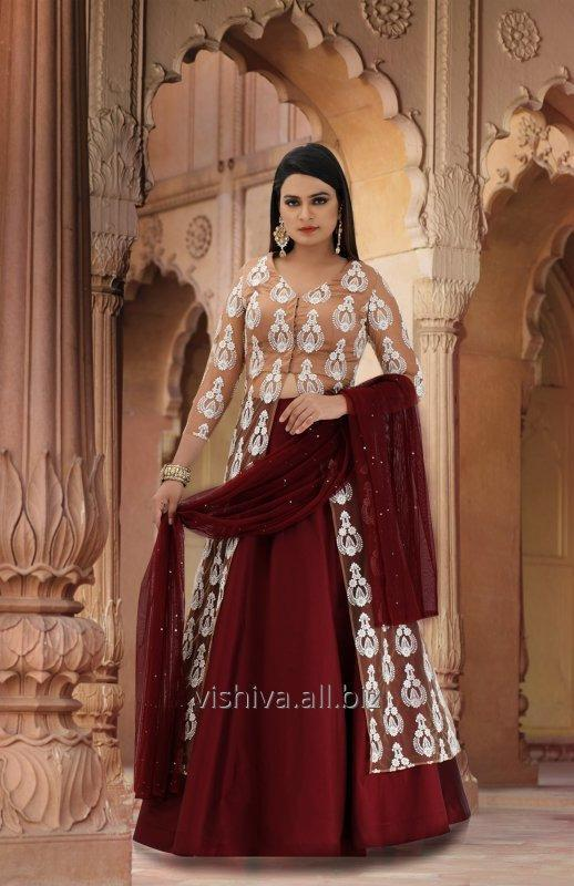 Buy Mehroon & Beige Color Lehenga with Long Top and Dupatta