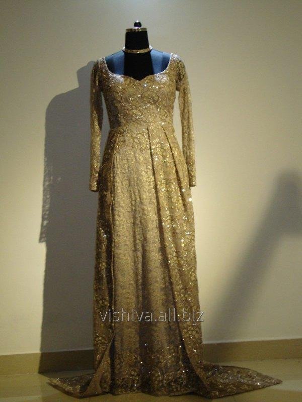 Buy Hand embroidered Golden Dress