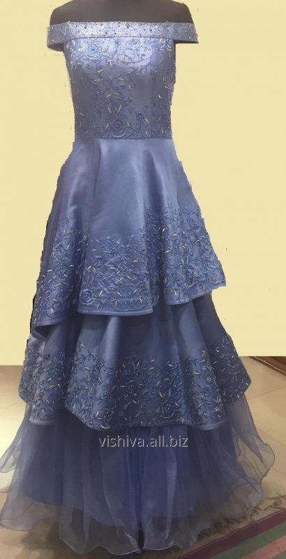 Buy Thread and zari embroidery Blue dress