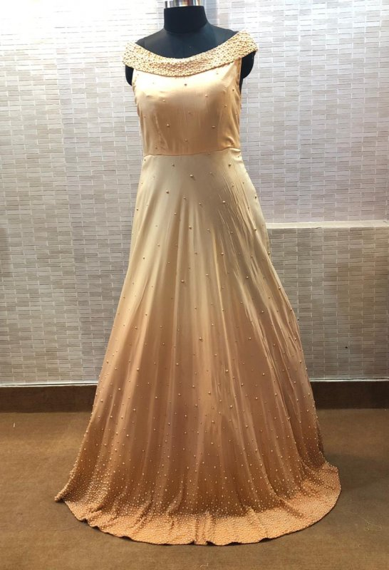 Buy Off shoulder Three Size Light Peach Color Gown