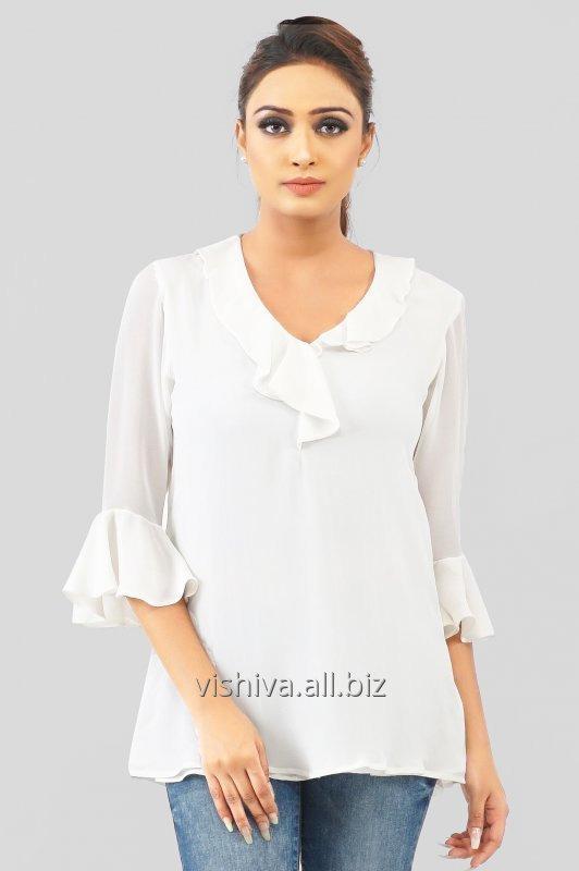 Buy White Georgette Ruffle Sleeves Top